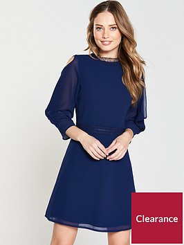 little-mistress-frill-sleeve-shift-dress-navy
