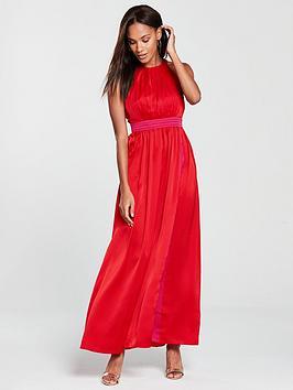 Little Mistress Contrast Colour Maxi Dress - Pomegranate