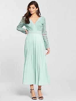 Little Mistress Crochet Top Pleated Midi Dress - Spearmint