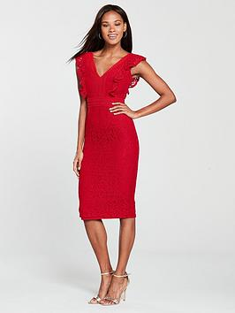 little-mistress-frill-detail-lace-pencil-dress-pomegranate