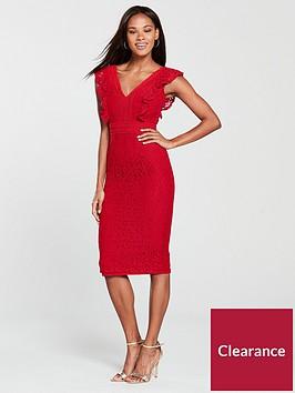 little-mistress-frill-detail-lace-pencil-dress-pomegranate