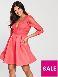 little-mistress-crochet-frill-detail-skater-dress-coral