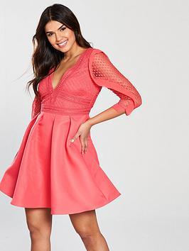 Little Mistress Crochet Frill Detail Skater Dress - Coral