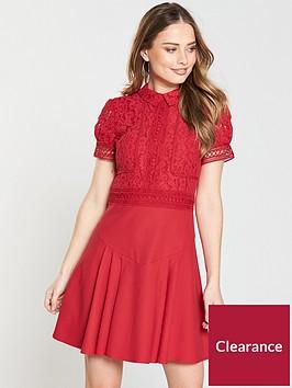 little-mistress-high-neck-lace-top-skater-dress-pomegranatenbsp