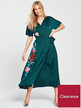 lost-ink-embroidered-wrap-maxi-dress-dark-green