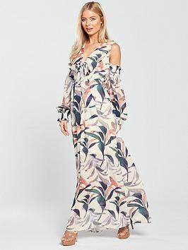 Lost Ink Cold Shoulder Maxi Dress - Floral Print