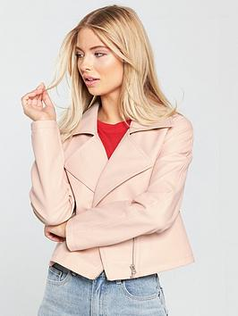 Lost Ink Cropped Boxy Pu Jacket - Light Pink