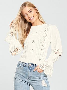 Lost Ink Broderie Anglaise Sleeve Lightweight Knitted Jumper - White