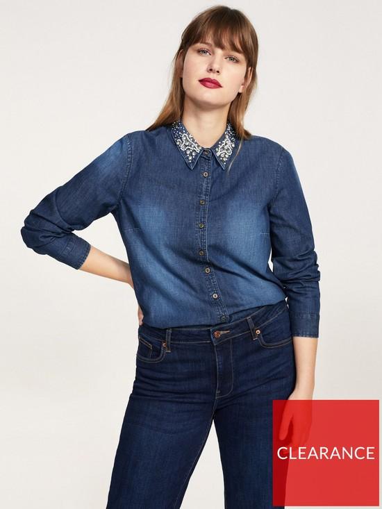 662f2b2a35c6 Violeta Violeta Plus Size Embellished Collar Denim Shirt