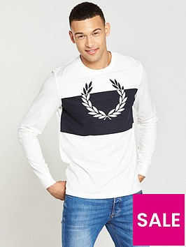 fred-perry-fred-perry-blocked-laurel-wreath-long-sleeve-t-shirt