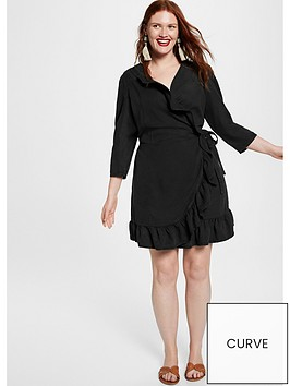 violeta-frill-wrap-dress-black