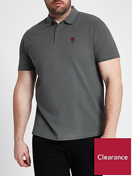 river-island-big-amp-tall-rose-embroidery-polo