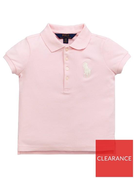 f33f606bf Ralph Lauren Girls Classic Big Pony Short Sleeve Polo Shirt - Hint of Pink