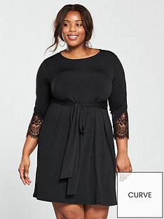 v-by-very-curve-tie-front-lace-trim-sleeve-dress-black