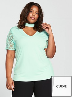 v-by-very-curve-lace-sleeve-choker-top-mint