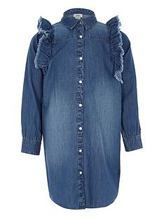 river-island-girls-blue-denim-frill-shirt-dress