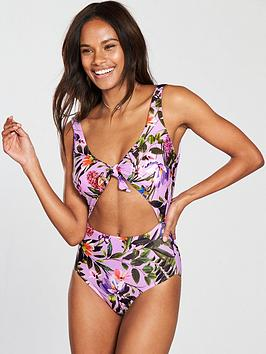 v-by-very-tie-cut-out-swimsuit-floral-print