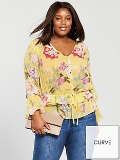 v-by-very-curve-gathered-waist-blouse-floral-print