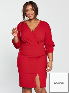 v-by-very-curve-ruched-sleeve-wrap-woven-bodycon-dress-red