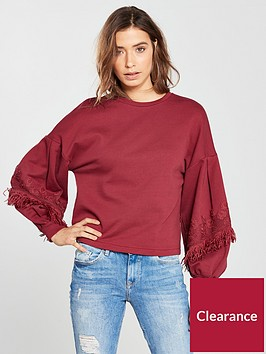 v-by-very-lace-fringe-trim-sweat-shirt-red