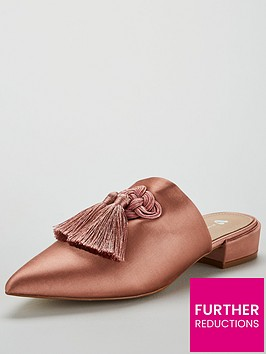 v-by-very-chicago-satin-tassel-point-flat-mule-dusty-pink