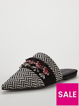 v-by-very-essaouria-woven-jeweled-point-flat-mule-blackwhite