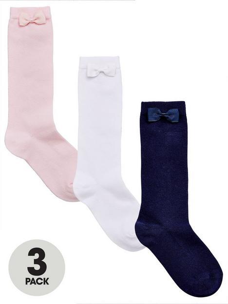 v-by-very-girls-3-pack-knee-high-bow-socks-multi
