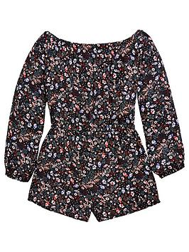 v-by-very-girls-bardot-floral-printed-playsuit