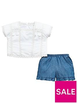 v-by-very-girls-white-tassel-blouse-amp-frill-short-outfit