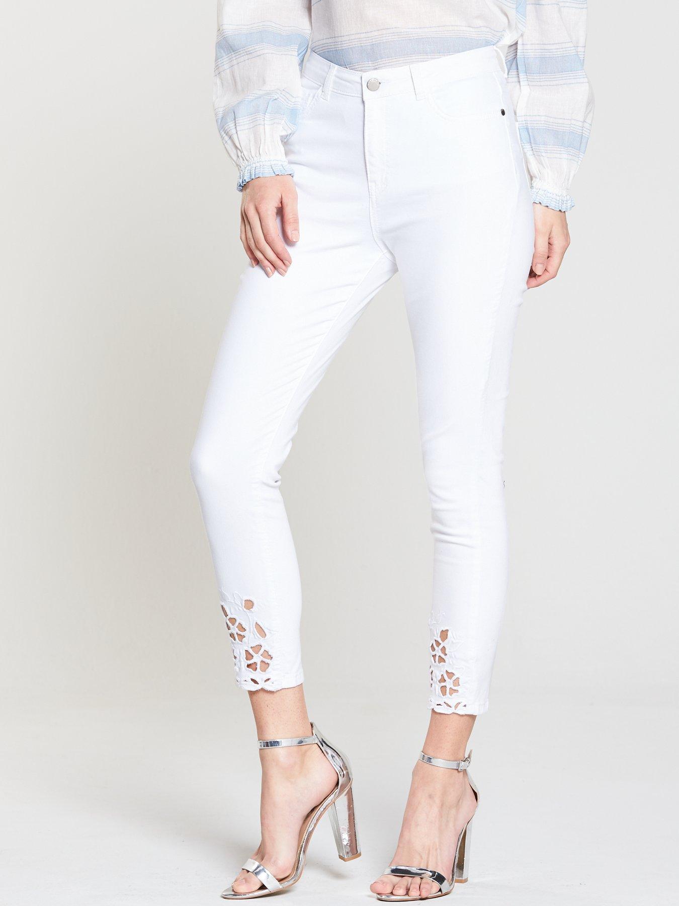 V by Very Ella High Rise Cropped Cutwork Skinny Jean - White