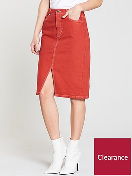 v-by-very-denim-contrast-stitch-skirt-rednbsp
