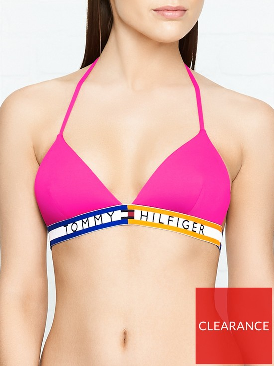 a886c3c3d1 Tommy Hilfiger Logo Fixed Triangle Bikini Top - Pink | very.co.uk