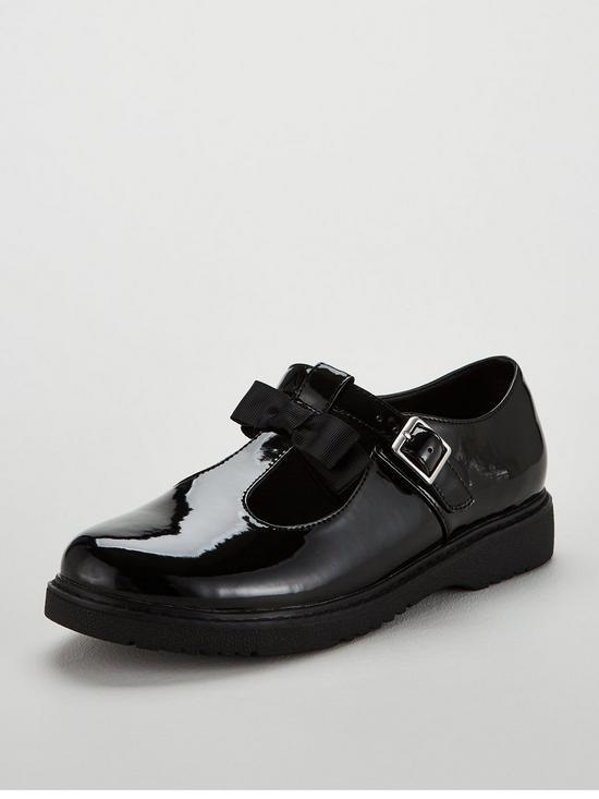 7e9b97f0ca3f V by Very Girls Millie T-Bar Bow School Shoes - Black