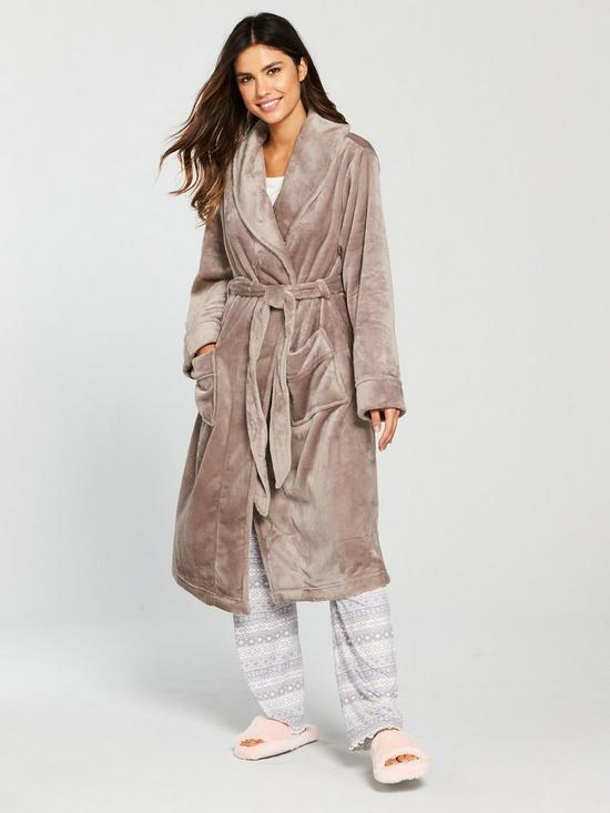 00780490a1b V by Very Super Soft Long Sleeve Dressing Gown - Mink