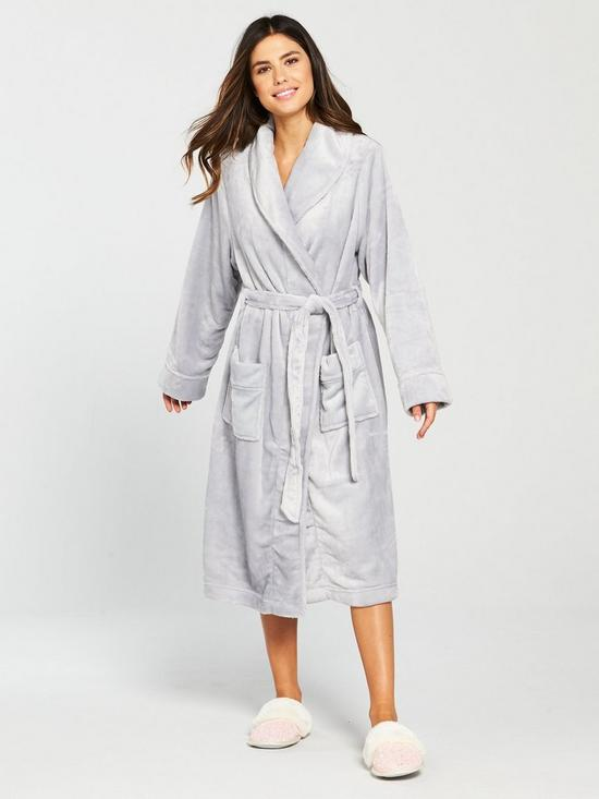 38d3aee90209 V by Very Super Soft Long Sleeve Dressing Gown - Grey