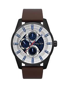 police-police-stamford-silver-multi-dial-brown-leather-strap-gents-watch