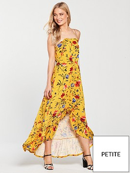v-by-very-petite-dip-back-button-through-jersey-dress-mustard-floral