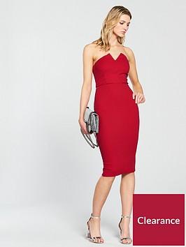 ax-paris-notch-front-bodycon-dress-red