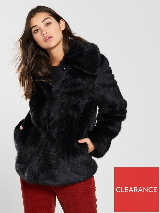 b5c6fcdd V by Very Short Faux Fur Jacket - Black | very.co.uk