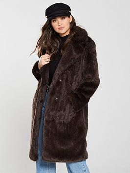 V By Very Faux Fur Coat - Chocolate