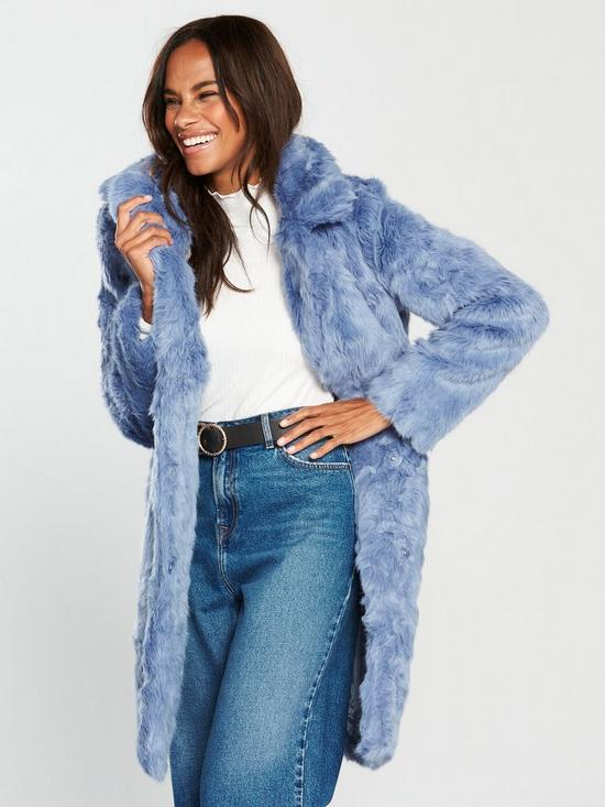 V By Very Faux Fur Coat Blue Very Co Uk