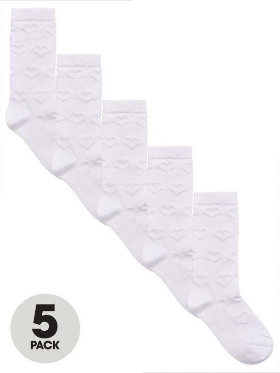 ce8c1719ada V by Very 5 Pack Girls Knee Length Socks - White