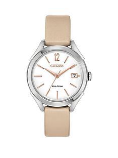 citizen-citizen-eco-drive-white-dial-nude-leather-strap-ladies-watch