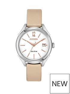 citizen-citizen-eco-drive-white-dial-nude-leather-strap-ladies-watch