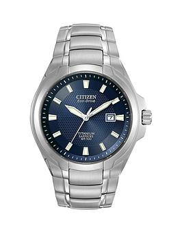 citizen-eco-drive-blue-dial-titanium-bracelet-mens-watch