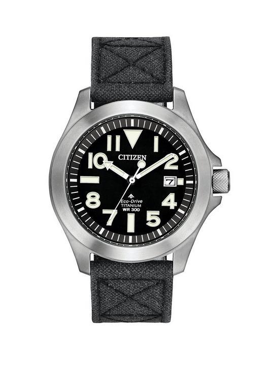 bdb4eec53 Citizen Eco-Drive Super Titanium Black Dial Black Kevlar Strap Mens Watch