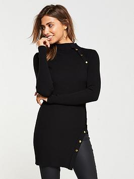 v-by-very-button-side-skinny-rib-tunic-black