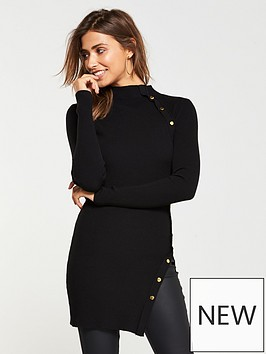 v-by-very-button-side-skinny-rib-tunic-black