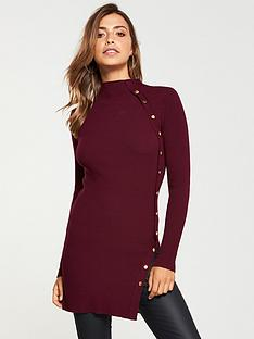 v-by-very-button-side-skinny-rib-tunic-merlot
