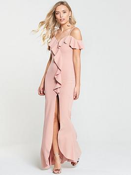 ax-paris-frill-front-dip-hem-maxi-dress-blush